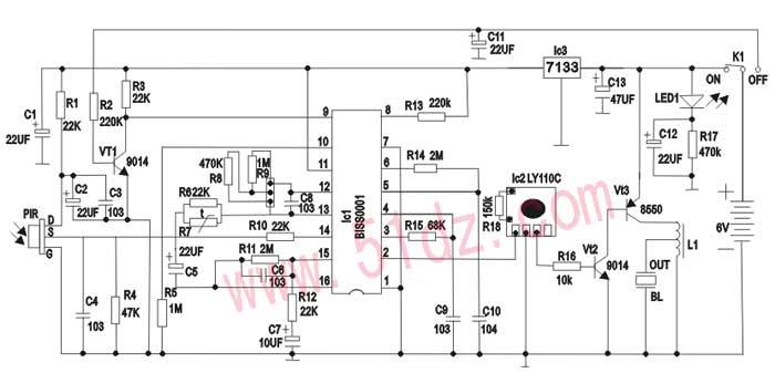ic1内部的运算放大器op1将热释电红外传感器y1的