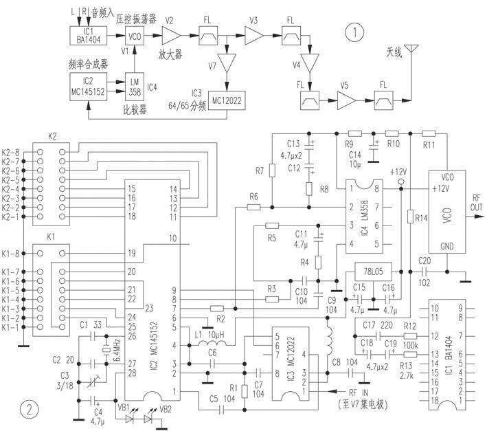 该芯片内含参考频率振荡器,可供用户选择的参考分频器(12×8rom参考